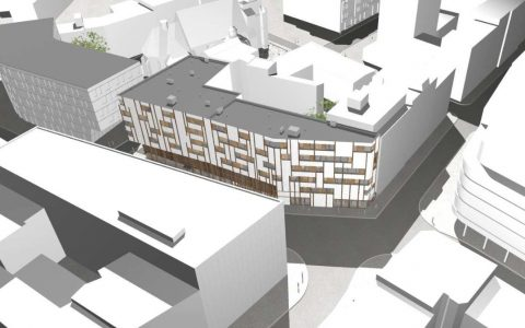Grafická studie bytového domu v proluce Kostelní - Biskupská