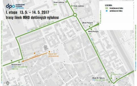 Trasy linek MHD 13.5. - 14.5.2017